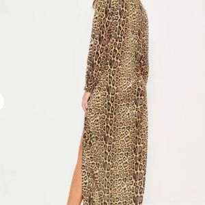 Missguided Dresses - nude leopard print wrap front maxi dress