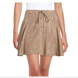 Design Lab Lace-up Faux Suede Skirt