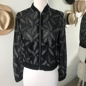 Embroidered Black Bomber Jacket - XS