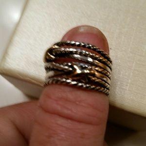 David Yurman gold and silver ring
