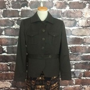 J. Peterman brown gold military blazer jacket wool