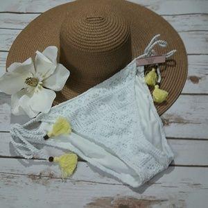 Victoria's secret white bikini bottom w/ Crochet L