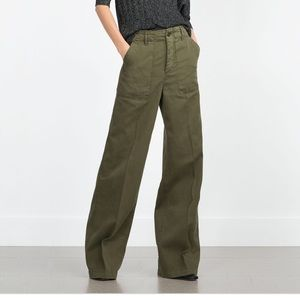 NWT ZARA High Waisted Wide Leg Green Pants Size 6