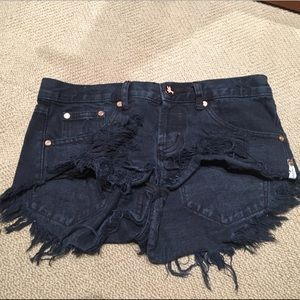 One teaspoon short jean shorts black - size 24