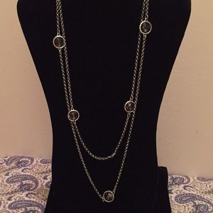 Talbots Silver Rolo Chain & Clear Glass Necklace