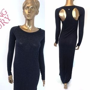Diesel Blue High Slit cut out L/S Maxi Dress sz S