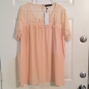 Allegra K XL Light Pink and Lace Long Flowy Top