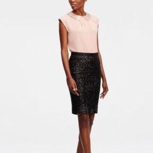 H&m Sequin Sz XS Black Pencil Skirt