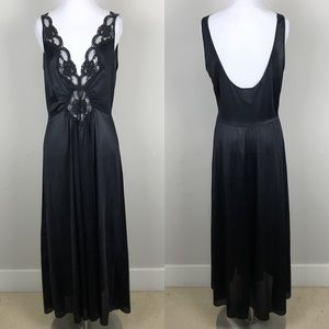 [Adonna] Vintage Nightgown Plunge Lace Slip Long