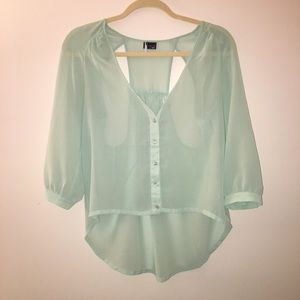 UO mint green sheer blouse