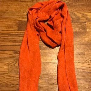 Orange fringe scarf