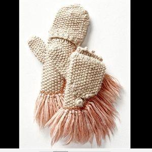 Free People Knit Long Furry Fringed Mitten Gloves