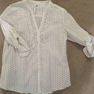 Blue and White Polka dot shirt- Lauren Conrad