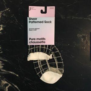 American Apparel Black/White Sheer Grid Sock