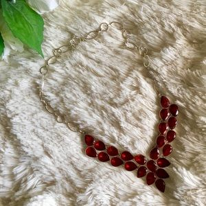 Ruby Red Quartz Silver Plated Statement Necklace