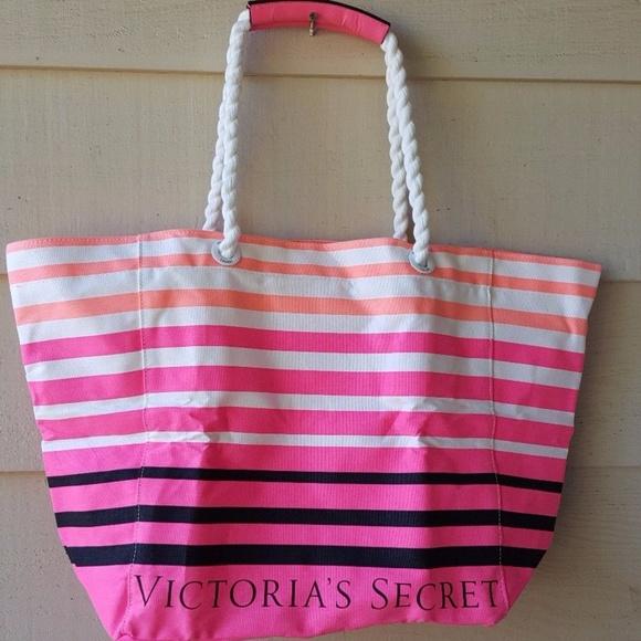a52f091015746 Victoria Secret Striped Multi Color Beach Tote NWT