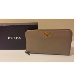 PRADA Saffiano Leather Zip-Around Wallet
