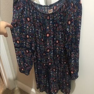 Mossimo Off the Shoulder Romper - Navy Floral - Lg