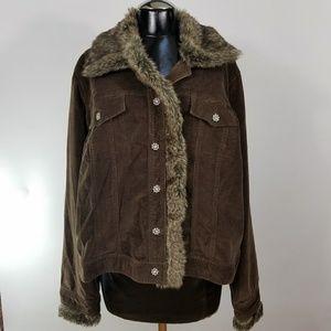 Venezia Corduroy Jacket Removable Faux Fur Trim