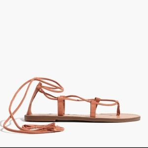 Madewell Lace Up Sandal Boardwalk in Camel