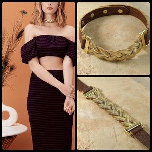 VANESSA MOONEY 🌙 Aphrodite Choker Brown/Gold NWT