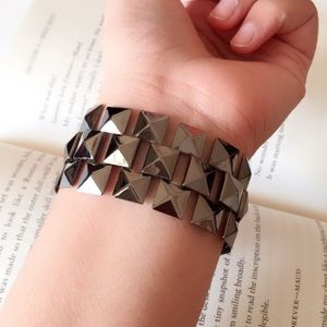 #A164 Wide Pyramid Steel Bracelet