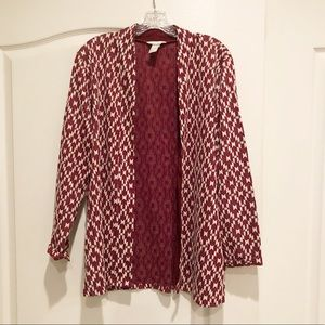 H&M Red & White Aztec Open Front Cardigan