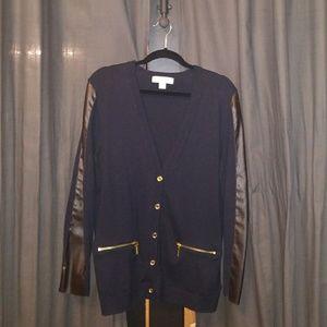 Michael Kors Leather Trimmed Cardigan