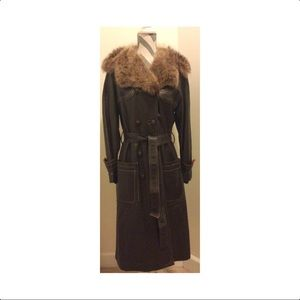 Vintage Long Lambskin Leather Coat with Fur Collar