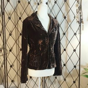 Nine West Brown Crushed Velvet Preplum Jacket