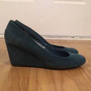 Emerald Green Suede Wedge Heels Size 11