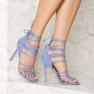 NIB Nasty Gal Baby Blue Lace Up Kitten Heels