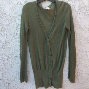 Lux button down olive sweater. Cotton