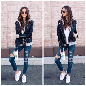 Jackets & Blazers - Faux Leather Layered Bomber
