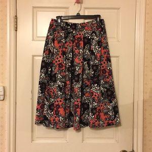 H&M pink black floral midi Pleated full skirt 6
