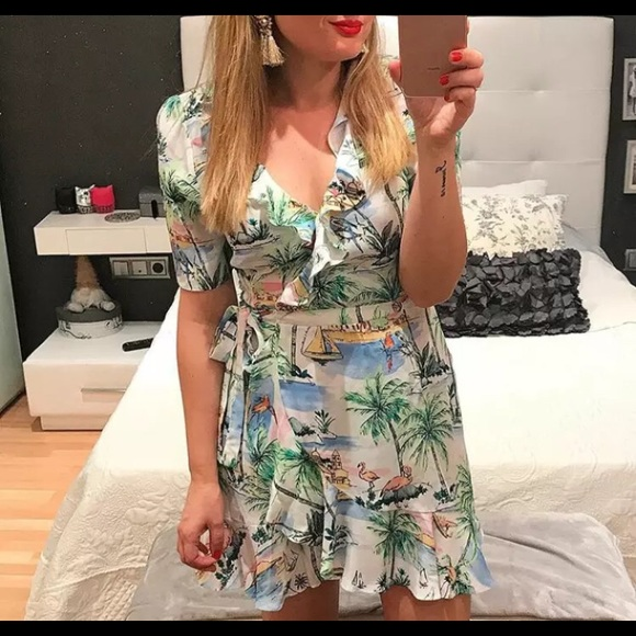 e86c9ed8 Zara Dresses | New Rare Tropical Wrap Dress Print Size M | Poshmark
