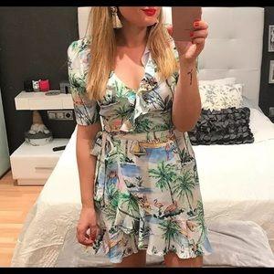Zara NEW & RARE Tropical Wrap Dress Print Size M
