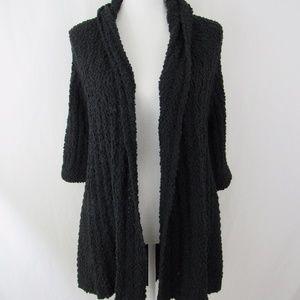 Black Open Knit Chunky Short Sleeve Cardigan