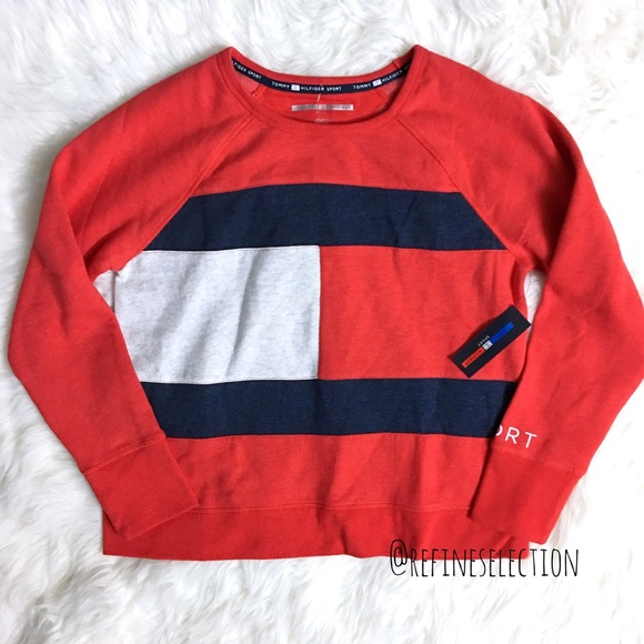 Tommy Hilfiger Sport Flag Logo Red Sweatshirt