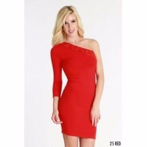 Nikibiki Red Lace One Shoulder Seamless Dress