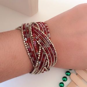 #A167 Handmade Seed bead Red Wide Bracelet
