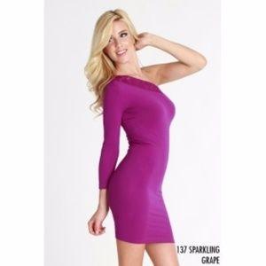 Nikibiki Purple Lace One Shoulder Seamless Dress