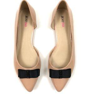 JustFab Elba nude patent flats with bow