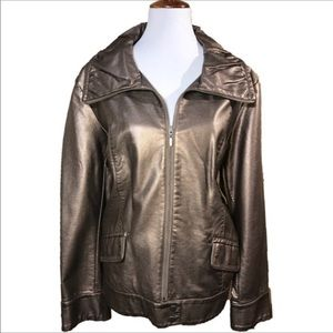 Chico's Metallic Bronze Vegan Leather Jacket
