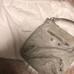 Balenciaga Day Bag in Dove w/Silver Hardware