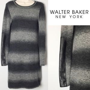 WGB By Walter Baker Blk/Gry Leather Sweater Dress
