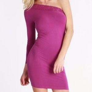 Nikibiki Rose Lace One Shoulder Seamless Dress