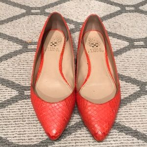Vince Camuto orange flats with spikes
