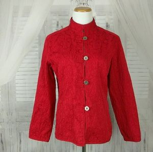 Chicos Red Textured Button Blazer Jacket sz 1