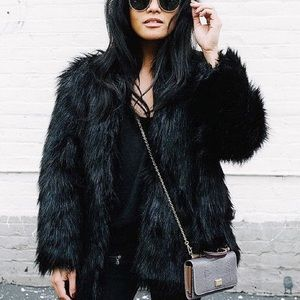 Jackets & Blazers - Uptown Girl Black Long Faux Fur Jacket, S-XXXL